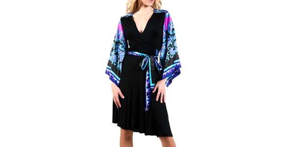 Dámské černé šaty s modrými rukávy Barbarella