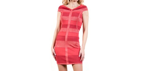 Dámské korálové upnuté šaty Barbarella