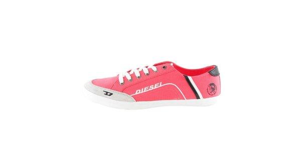 Pánské růžové látkové nízké tenisky Diesel