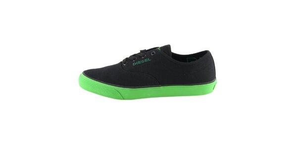 Pánské černé tenisky se zelenou podrážkou Diesel
