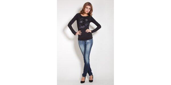 Dámské černé tričko Lois s flitry a korálky