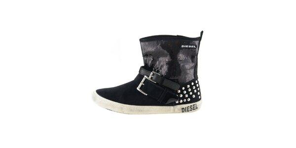 Dámské černé kotníkové boty s flitry Diesel