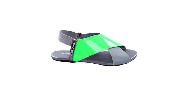 Dámské šedé sandály se zeleným páskem DKNY Active