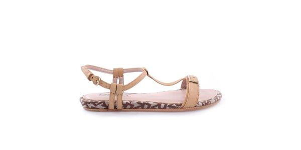 Dámské nízké béžové páskové sandálky DKNY