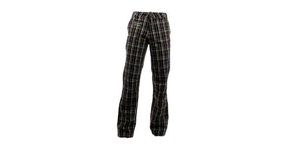 Pánské tmavé kostkované kalhoty Envy se zářivými proužky