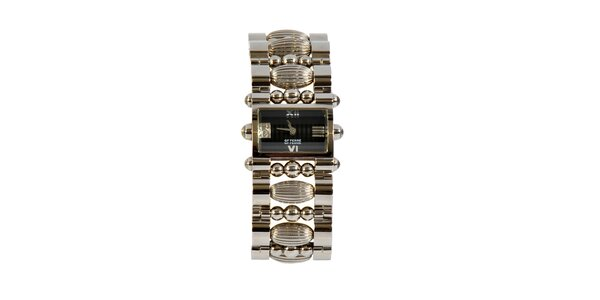 Dámské ocelové hodinky Gianfranco Ferré s ozdobným náramkem a černým ciferníkem