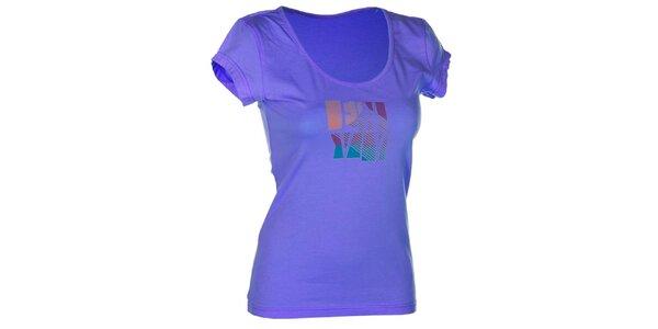 Dámské modré bavlněné tričko s potiskem Envy