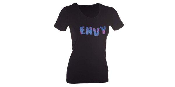 Dámské černé tričko s nápisem Envy