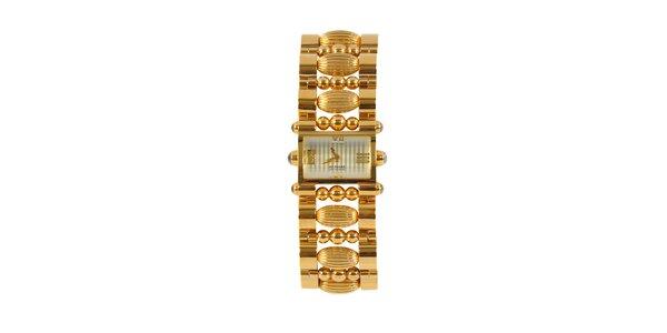 Dámské zlaté ocelové hodinky Gianfranco Ferré s ozdobným náramkem a stříbrným…
