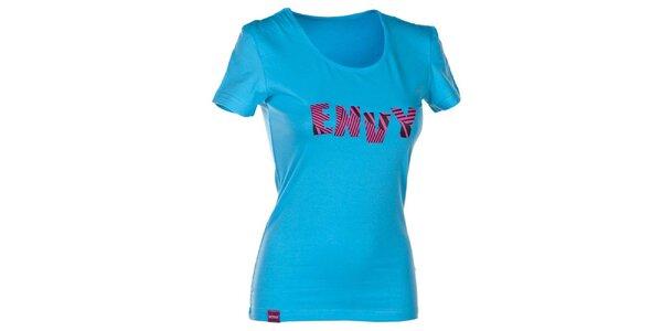 Dámské modré tričko s nápisem Envy