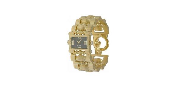 Dámské zlaté hodinky Gianfranco Ferré s černým ciferníkem
