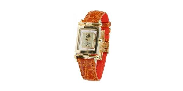 Dámské zlaté hodinky Gianfranco Ferré s hnědým koženým řemínkem