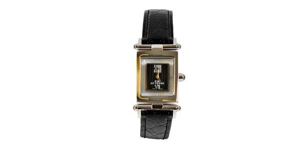 Dámské ocelové hodinky Gianfranco Ferré s černým koženým řemínkem