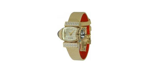 Dámské zlaté náramkové hodinky Gianfranco Ferré s bílým ciferníkem a koženým…