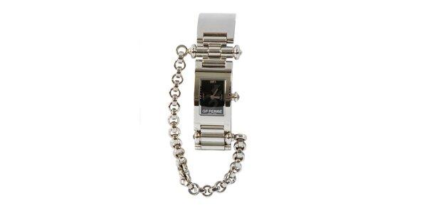 Dámské ocelové hodinky Gianfranco Ferré s řetízkem a černým ciferníkem
