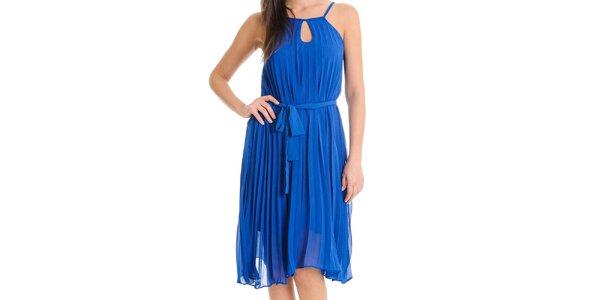 Dámské kobaltově modré šaty se skládanou sukní Goa Goa
