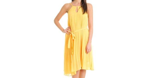 Dámské kanárkově žluté šaty se skládanou sukní Goa Goa