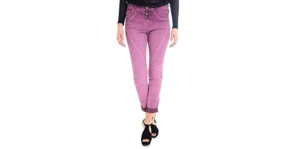 Dámské růžovofialové kalhoty s knoflíkovým zapínáním Goa Goa