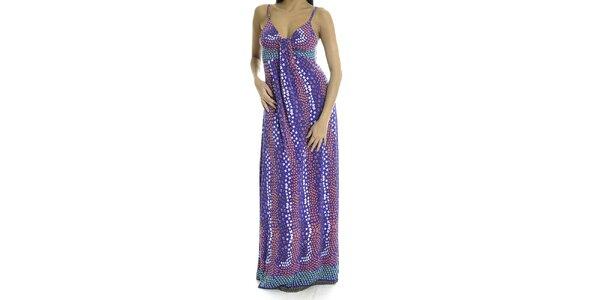 Dámské fialové dlouhé šaty s hvězdičkami Goa Goa
