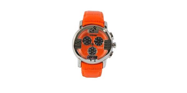 Dámské ocelové hodinky Gianfranco Ferré s oranžovým řemínkem