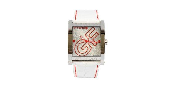 Dámské ocelové hodinky Gianfranco Ferré s červenými detaily a bílým řemínkem