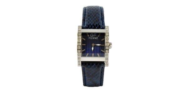 Dámské ocelové hodinky Gianfranco Ferré s kamínky a tmavě modrým koženým…