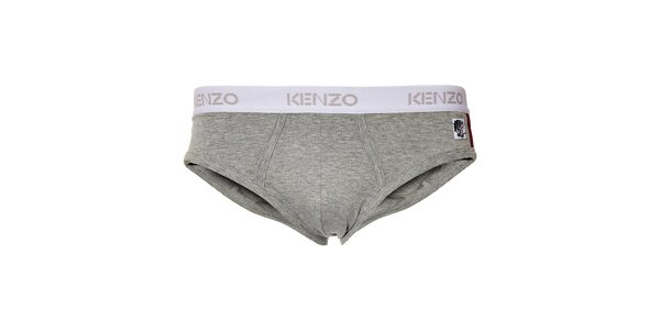 Pánské šedé slipy Kenzo s ozdobnou výšivkou