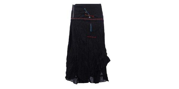 Dámská delší mačkaná sukně v černé barvě Dislay DY Design