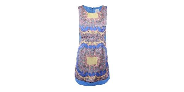 Dámské modré šaty s barevným vzorem na předním díle Dislay DY Design