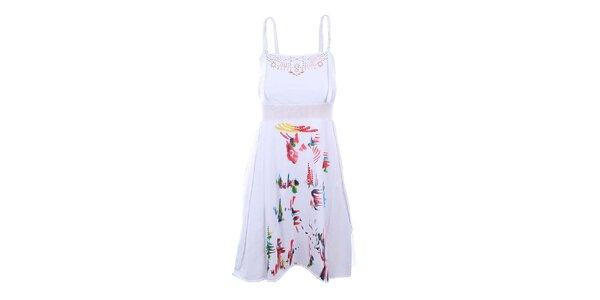 Dámské bílé šaty s průstřihy Dislay DY Design