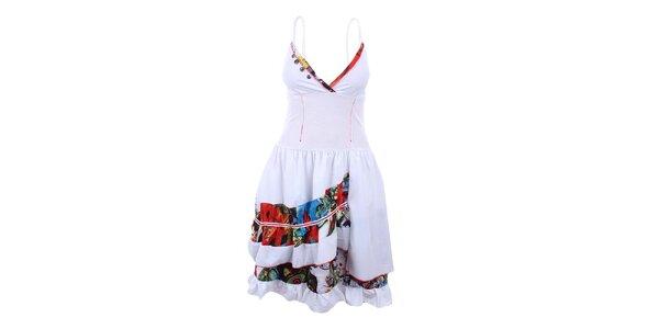 Dámské bílé šaty s hlubokým výstřihem Dislay DY Design
