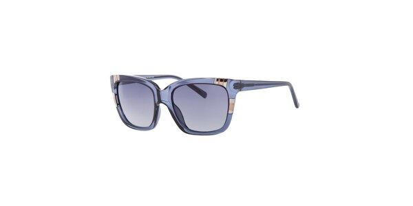 Dámské hranaté transparentní modré sluneční brýle Guess