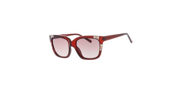 Dámské hranaté rudé sluneční brýle Guess