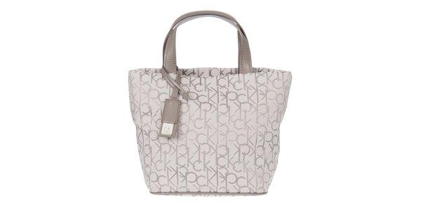 Dámská bílá vzorovaná kabelka s koženými poutky Calvin Klein