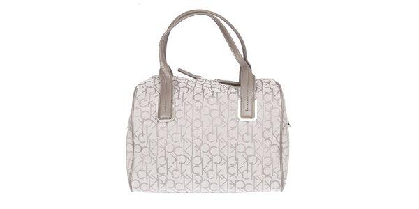Dámská bílá kufříková vzorovaná kabelka s koženými poutky Calvin Klein