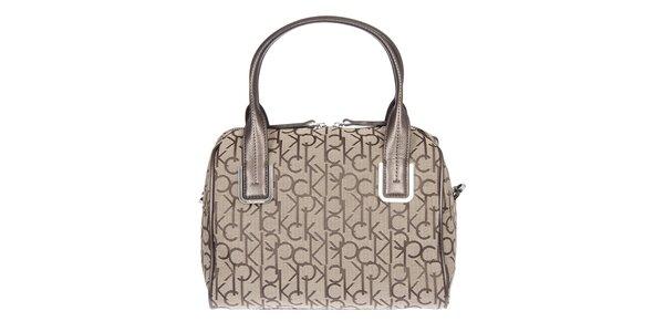Dámská krémová kufříková vzorovaná kabelka s koženými poutky Calvin Klein