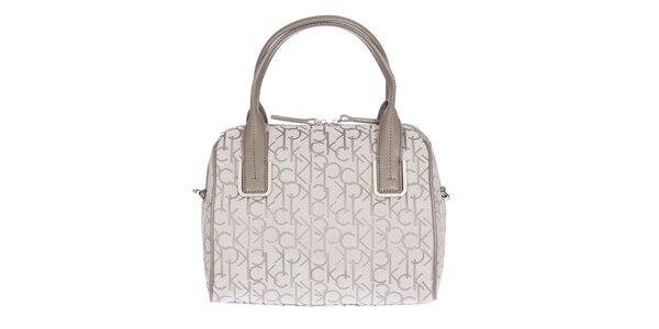 Dámská smetanová kufříková vzorovaná kabelka s koženými poutky Calvin Klein