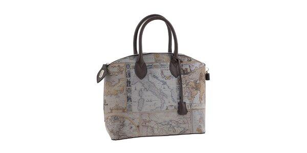Dámská šedá kabelka s potiskem mapy Valentina Italy