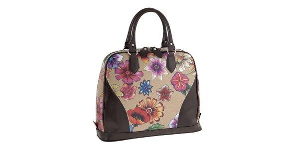 Dámská kožená kabelka s barevným květinovým potiskem Valentina Italy