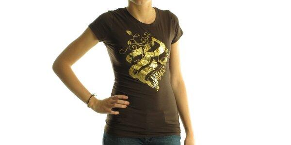 Dámské tmavě hnědé tričko Rocawear se zlatým potiskem