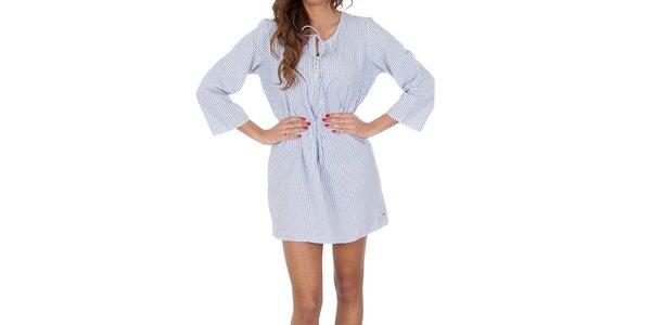 Dámská modrá košile s bílými proužky Tommy Hilfiger