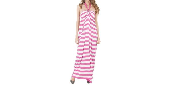 Dámské dlouhé pruhované růžové šaty Tommy Hilfiger