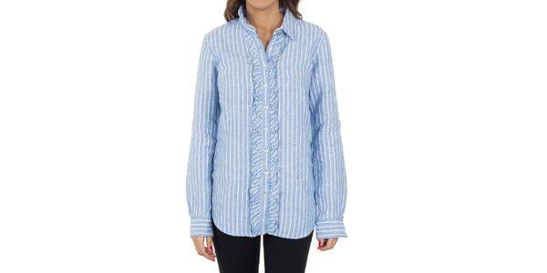 Dámská modro-bíle pruhovaná košile s volánky Tommy Hilfiger