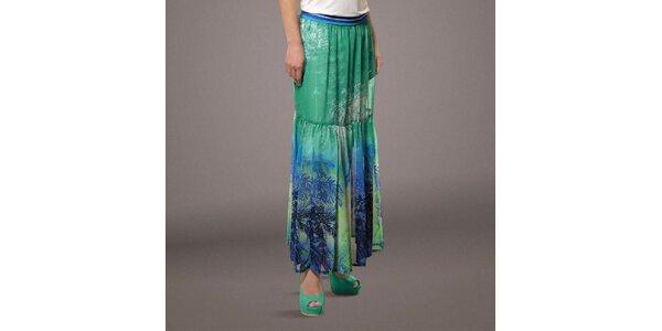 Dámská dlouhá zeleno-modrá sukně s palmami Patricia Rado