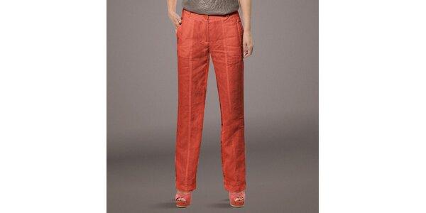 Dámské korálově červené lněné kalhoty Patricia Rado