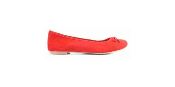 Dámské červené semišové balerínky Toscania