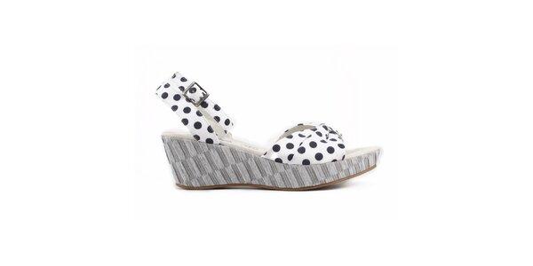 Dámské bílé sandálky s černými puntíky Elite