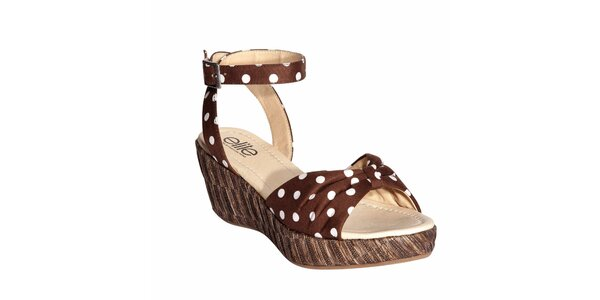 Dámské hnědé sandálky s bílými puntíky Elite