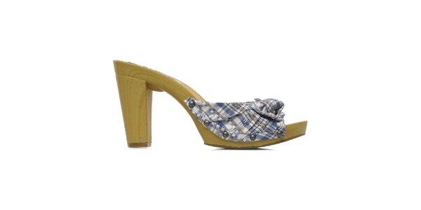 Dámské modré kárované boty na podpatku Elite