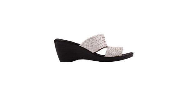 Dámské bílo-černé sandálky na klínu Toscania